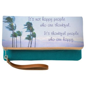 """""""Thankful"""" quote palm trees photo fold-over clutch"""