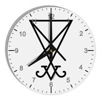 "Sigil of Lucifer - Seal of Satan 8"" Round Wall Clock with Numbers"