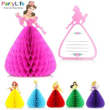 6 Colors Lovely Princess Invitation Cards 3D Birthday Wedding Party Invitation Cards Decorations Supplies