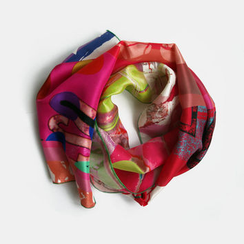 Bold Modern Design Silk Scarf, Fuchsia Pink and Lime Green Printed Scarf, Colourful Women's Summer Accessories, Unique Scarves UK