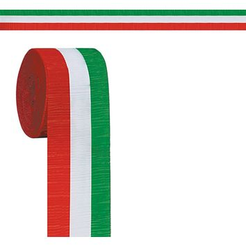 FR Red, White & Green Crepe Streamer - 24 Units