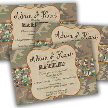 Faded Camo Wedding Invitation - Camouflage Wedding Invitations - Camo Wedding - Country Wedding - Hunter - Rustic - Wedding Invites