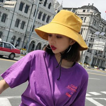 HT1587 Wide Brim Waterproof Men Women Panama Bucket Hat Casual Quick-drying Summer Sun Cap Hat Solid Plain Fishing Fisherman Hat