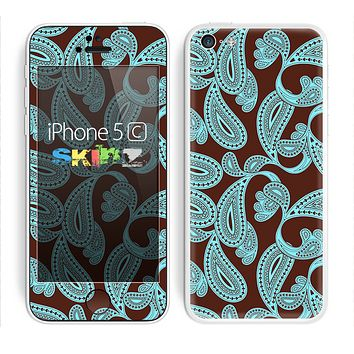 The Brown & Teal Pasiley Pattern Skin for the Apple iPhone 5c