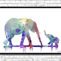 Mom and cute Baby Elephant 2 Watercolor print Animal Wall decor Children Boy Girl Kids Baby Room Nursery Interior Decor Bedroom Elephant