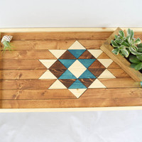 Wood Breakfast Tray with Leather Handles, Modern Home Decor - Southwestern Decorative Tray with Turquoise - Coffee Table Tray - Ottoman Tray