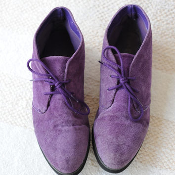Vintage Purple Suede Leather Ankle Chukka Boots by Coasters womens 7