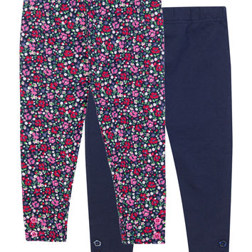 JoJo Maman Bébé 2-Pack Floral Leggings - Dark Blue/Navy -