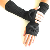 Bow Gloves in Black-Arm Warmers-Black Gloves-Fingerless Gloves-Steam Punk.