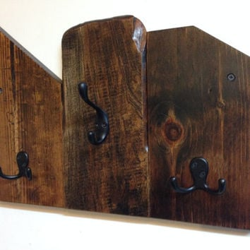 Reclaimed wood wall mount coat rack, entryway storage coat hook rack, rustic wood coat rack