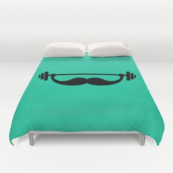 Minimal Funny Fitness Mustache / Beard Duvet Cover by Badbugs_art