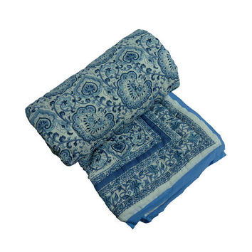 Queen size Moroccan Floral Hand Block Print on quilt