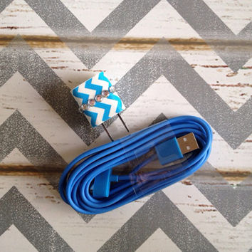 New Super Cute Jeweled Blue & White Chevron Design Wall iphone 4/4g/4s Charger + 10ft Blue cable cord Super Long