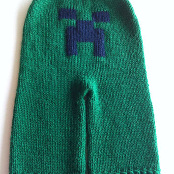Medium 9-18 Month Hand Knit Creeper Board Shorties - Inspired by Minecraft - Wool Cloth Diaper Cover