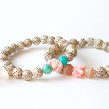Elephant Spirit Bracelet - Mala Beads Bracelet with Lotus Seeds, Moonstone, Elephant and Lotus Flower Charm