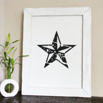 Star Sign Nautical Star Wall Hanging Tattoo Inspired Art Rustic Wood Sign White Frame Distressed Wood