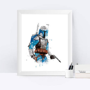 Star Wars jango Fett Art Print Watercolor Wall Art jango Fett Watercolor Yoda Darth Vader jango Fett Poster Illustration Gift Home Decor