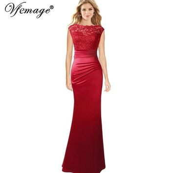 Floral Lace Ruched Pleated Cap Sleeves Formal Evening Gowns Wedding Party Mother of Bride Mermaid Maxi Dress