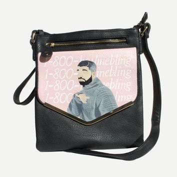 Hotline Bling, handpainted leather bag