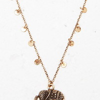 Etched Elephant Charm Necklace