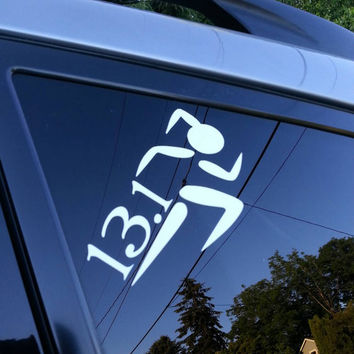 26.2 or 13.1  Marathon  Runner  Stick Figure Single Color  Vinyl  Car Decal Polka Dot