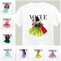 VONG2W 2017 Brand New Women Tshirt Tattoo Vogue Princess Print Cotton Casual Shirt For Lady White Top Tee Hipster Big Size ZT203-15