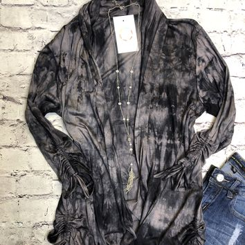 Perfect Fit Ruched Tie Dye Cardigan In Black