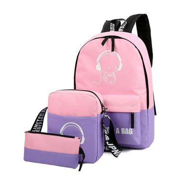 Women Backpack School Bag Nylon Set Fluorescence Backpack For Teenager Girls Casual Backpacks Famous Brand High quality Book bag