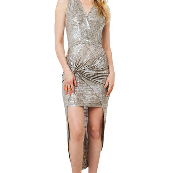 Silver Knotted Dress - Silver