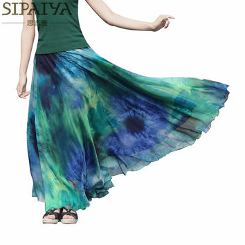 Summer Long Skirts Womens 2017 New Ankle-length Pleated Chiffon Skirt Boho Style Beach Wear Maxi Skirt female saia longa