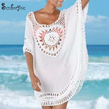 Crochet Cover up 2018 Tunic for Beach Women Swimwear Beach Cover up Plus size Cover up Summer Top Women Swim suit Cover up