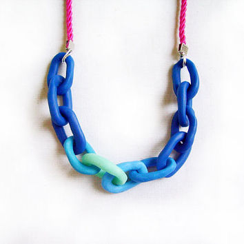Chunky Chain Polymer Clay Necklace - Blue Mint Pink Ombre Handmade Oversized Chain Link Necklace
