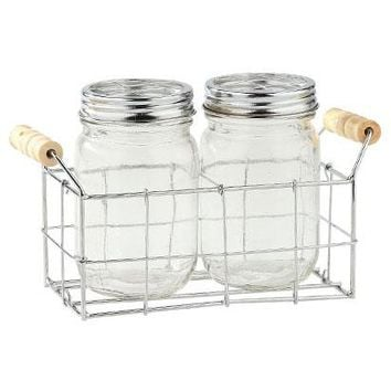 "Set of 2 Clear Glass Mason Jars with Metal Caddy - 8.5"" L x 3.5"" W x 5.5"" H"