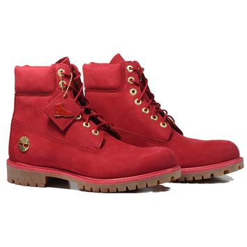 """AUGUAU Timberland 6"""" Premium Boot 'Ruby' - Red"""