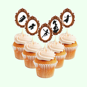Peter Pan silhouette cupcake toppers (digital file)