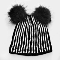 Double Pom Pom Crystal Knit Beanie Hat - Black