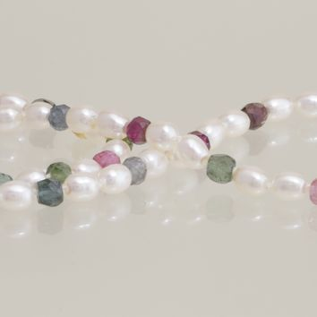 4-4.5mm Freshwater Pearl and Tourmaline Necklace 14kt White Gold Clasp 18""