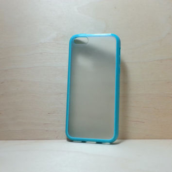 iPhone 5C Case Silicone Bumper and Translucent Frosted Hard Plastic Back - Turquoise