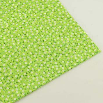 Plain Sewing Fabric Light Green Printed Floral Designs 100% Cotton Fabric Tecido Crafts Patchwork Home Textile Dolls Clothing