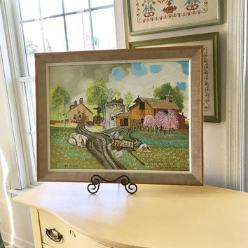 Large Farm Folk Art Painting, Signed Original Artwork Primitive Landscape Painting, Spring Country Landscape Wall Art