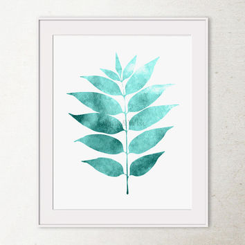 Leaf art print Printable art, Bathroom wall art, Bedroom wall decor, 8x10 Printable wall art print, Bathroom wall decor, Teal Home decor art
