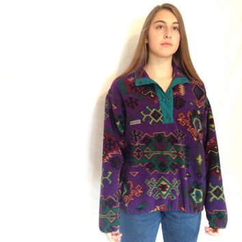 Vintage Columbia Tribal Fleece T Snap 80's Ski Womens Medium Made in USA