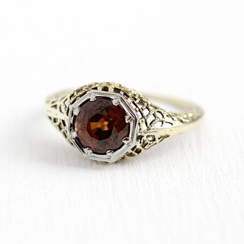 Brown Zircon Ring - Vintage Art Deco 14k Yellow Gold Filigree 2 + Carat Genuine Gemstone - 1930s Size 6 3/4 Round Gem Flower Fine Jewelry