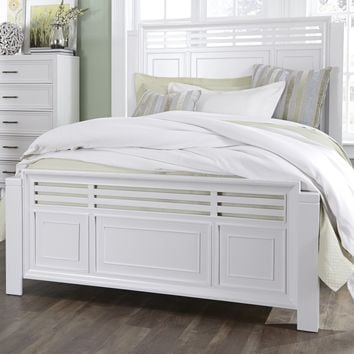 Serenade Transitional Queen Panel Complete Bed Tuxedo White