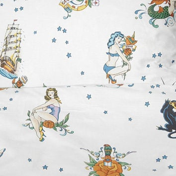 Vintage Flash Tattoo Duvet Covers - White - Tattoo Bedding by Sin in Linen