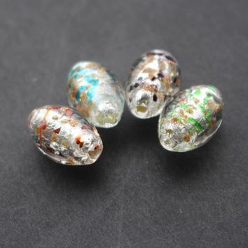 Free shipping 10Pcs/Lot  11*16mm Oval Shape Handmade Lampwork Glass beads Silver foil with red blue black green color