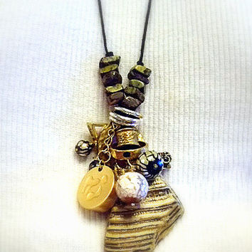 "Long Necklace with Agate, Shell, Wood, Gold Plate, SP, Glass Pearls, L: 19.25"", Handmade Jewelry on Etsy, Unique Gifts, Birthday, OOAK"