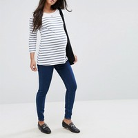 ASOS MATERNITY RIDLEY High Waist Skinny Jeans in Popular Deep Blue Wash With Under The Bump Waistband at asos.com