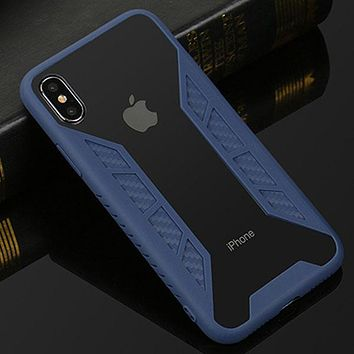 Armor Shockproof Carbon Fiber Case for iPhone X