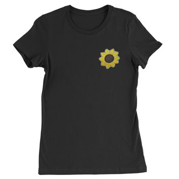 Embroidered Sunflower Patch (Pocket Print) Womens T-shirt